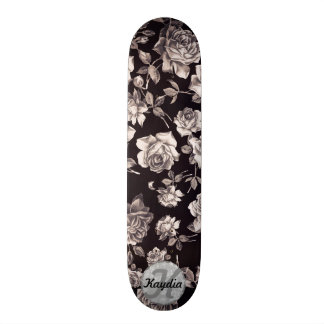 Trendy Chic Black & White Vintage Floral Monogram Skateboard