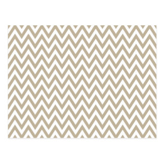 Trendy chic brown gray chevron zigzag pattern postcard