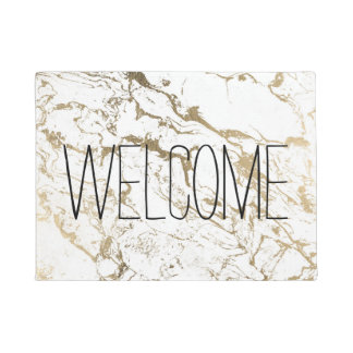 Trendy chic faux gold white marble pattern doormat