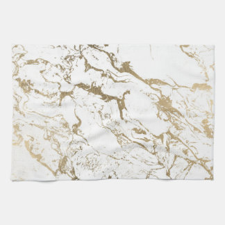 Trendy chic faux gold white marble pattern tea towel