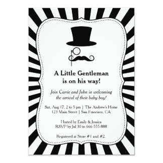 Trendy Chic Gentleman baby boy shower invitation