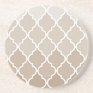 Trendy Chic Girly Cream Brown Quatrefoil Pattern Beverage Coaster