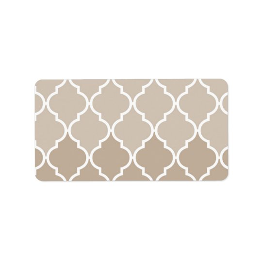 Trendy Chic Girly Cream Brown Quatrefoil Pattern Label