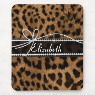 Trendy chic girly faux brown black leopard animal mouse mat