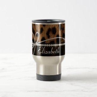 Trendy chic girly faux brown black leopard animal stainless steel travel mug