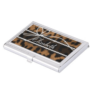 Trendy chic girly faux brown black leopard business card holder