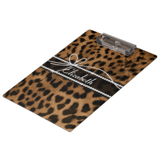 Trendy chic girly faux brown black leopard clipboards
