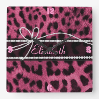 Trendy chic girly faux hot pink leopard animal clocks