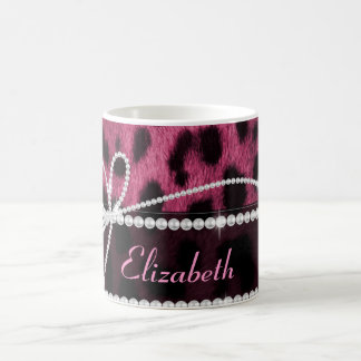Trendy chic girly faux hot pink leopard animal coffee mug