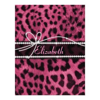 Trendy chic girly faux hot pink leopard animal fur 21.5 cm x 28 cm flyer