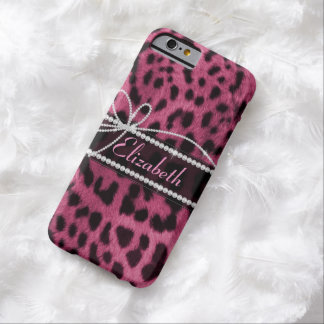 Trendy chic girly faux hot pink leopard animal fur barely there iPhone 6 case