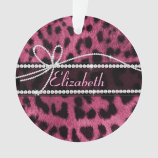 Trendy chic girly faux hot pink leopard animal fur ornament