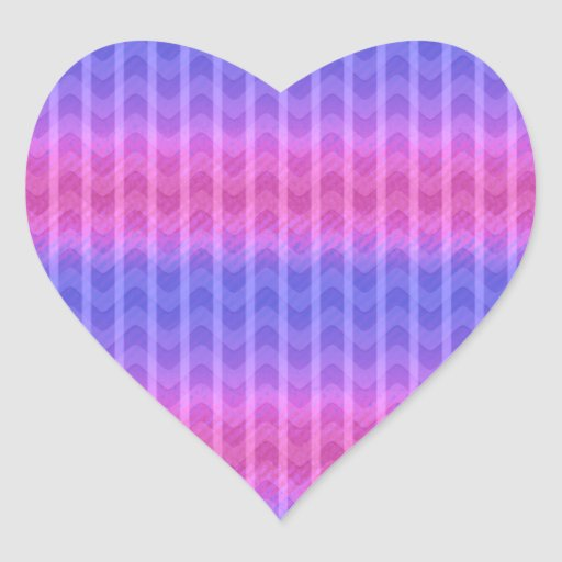 Trendy Chic Girly Pink Blue Zigzag Stripes Patter Heart Stickers