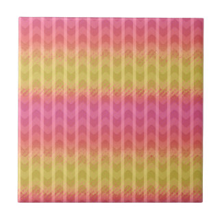 Trendy Chic Girly Pink Yellow Zigzag  Pattern Ceramic Tile