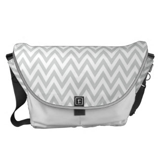 Trendy chic light gray chevron zigzag pattern commuter bag
