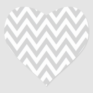 Trendy chic light gray chevron zigzag pattern heart sticker