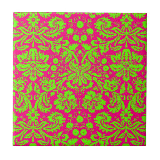 Trendy Chic Neon Damask Green on Pink Small Square Tile