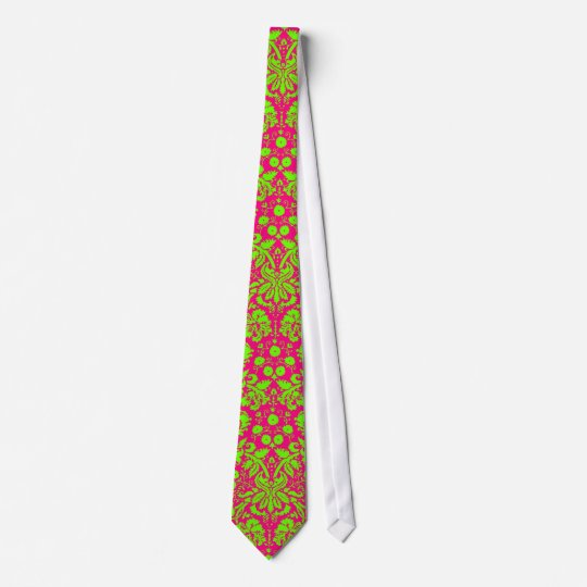 Trendy Chic Neon Damask Green on Pink Tie