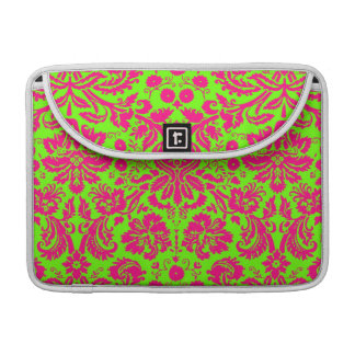 Trendy Chic Neon Damask Pink on Green Sleeve For MacBook Pro