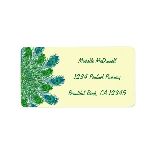 Trendy Chic Peacock Feathers Address Label