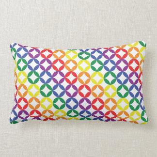 Trendy Chic Rainbow Diamonds Pattern Lumbar Cushion