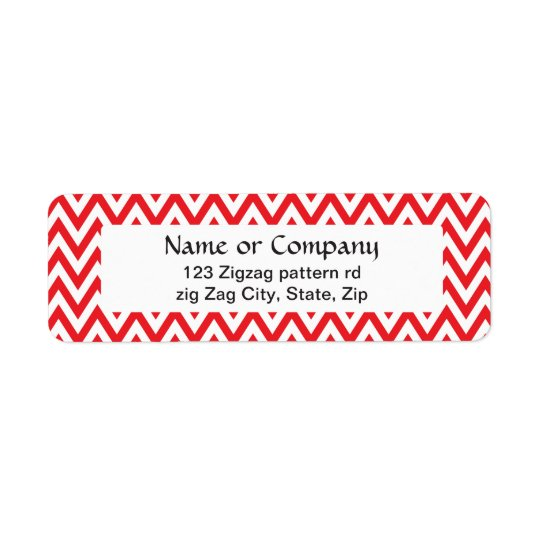 Trendy chic red chevron zigzag pattern return address label
