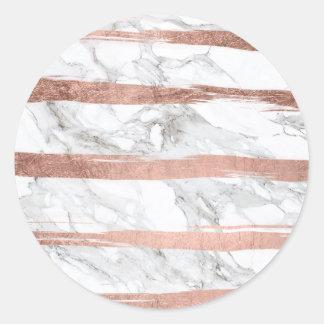 Trendy chic rose gold brush stripes white marble round sticker