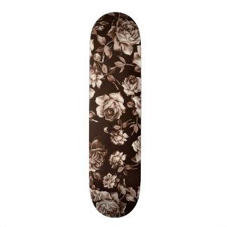 Trendy Chic Sepia Tone B&w Vintage Elegant Floral Skate Board Deck