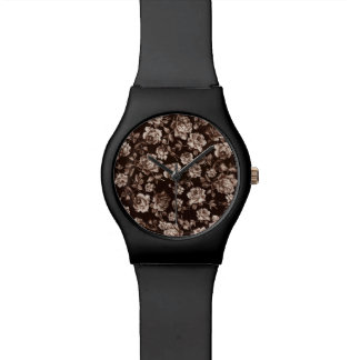 Trendy Chic Sepia Tone B&w Vintage Elegant Floral Wristwatch
