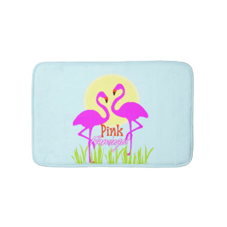 Trendy Chic Summery Pink flamingos Bath Mat
