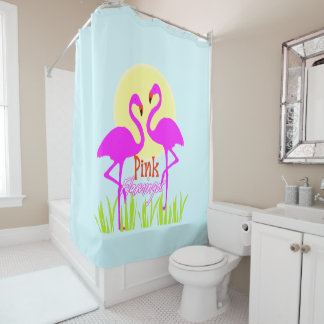 Trendy Chic Summery Pink flamingos Shower Curtain