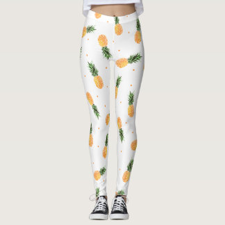 Trendy Chic Tropical Pineapples Dots Pattern Leggings
