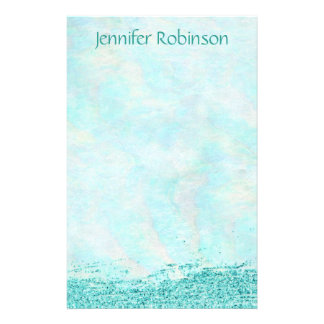 Trendy Chic Watercolor Glitter Ocean Breeze Stationery
