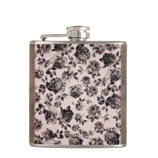 Trendy Chic White & Black Vintage Elegant Floral Hip Flask