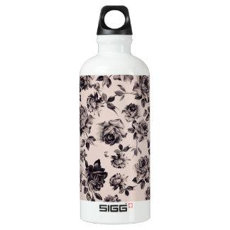 Trendy Chic White & Black Vintage Elegant Floral Water Bottle