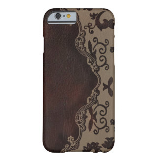 trendy chocolate Brown leather Damask iPhone 6 cas iPhone 6 Case