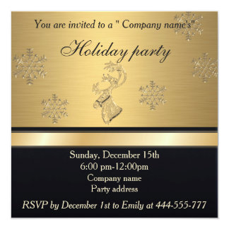 Trendy Christmas reindeer golden holiday party Card