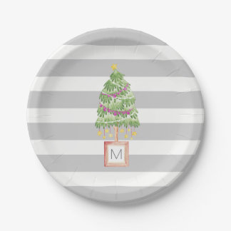 Trendy Christmas Tree monogram, holiday decor Paper Plate