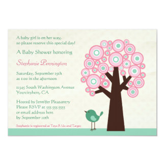 Trendy circle tree and bird baby shower invitation