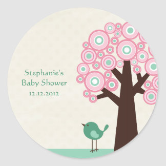 Trendy circle tree and bird baby shower stickers