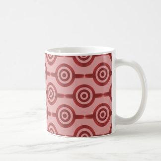 Trendy Circles Mug, Crimson Red Basic White Mug