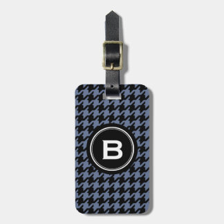 Trendy Classic blue grey houndstooth with monogram Luggage Tag