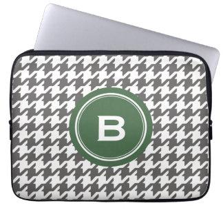 Trendy classic grey houndstooth with monogram laptop sleeve