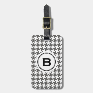 Trendy classic grey houndstooth with monogram luggage tag
