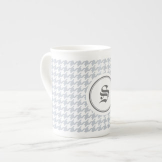 Trendy classic grey houndstooth with monogram tea cup