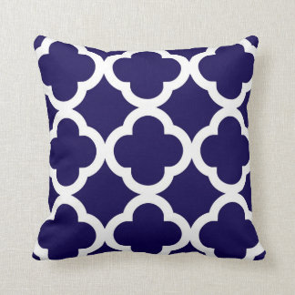 Trendy Clover Pattern in Cobalt Blue and White Cushion
