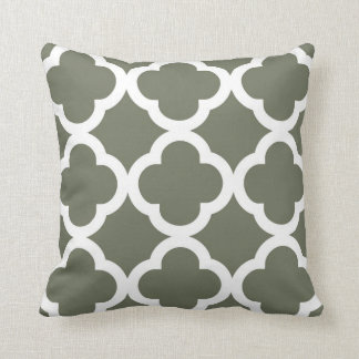 Trendy Clover Pattern in Olive Green and White Cushion
