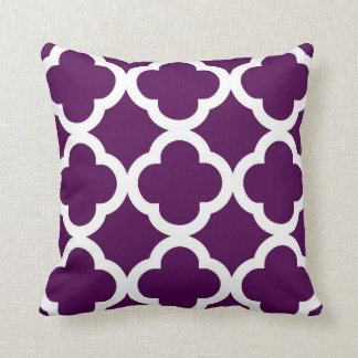 Trendy Clover Pattern in Plum and White Cushion