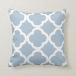 Trendy Clover Pattern in Soft Blue and White Cushion