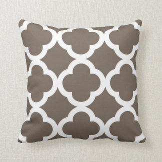 Trendy Clover Pattern in Taupe and White Cushion